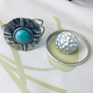 Jewelry - Silver tone Southwest style bangles and the ring.